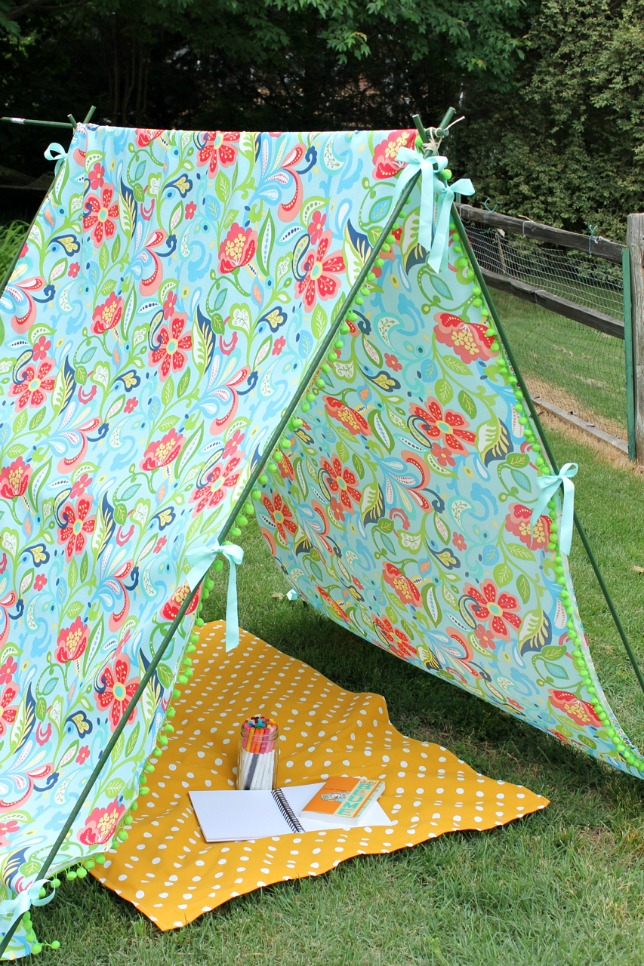Make a simple, colorful tent - such fun for the kids! kellyelko.com
