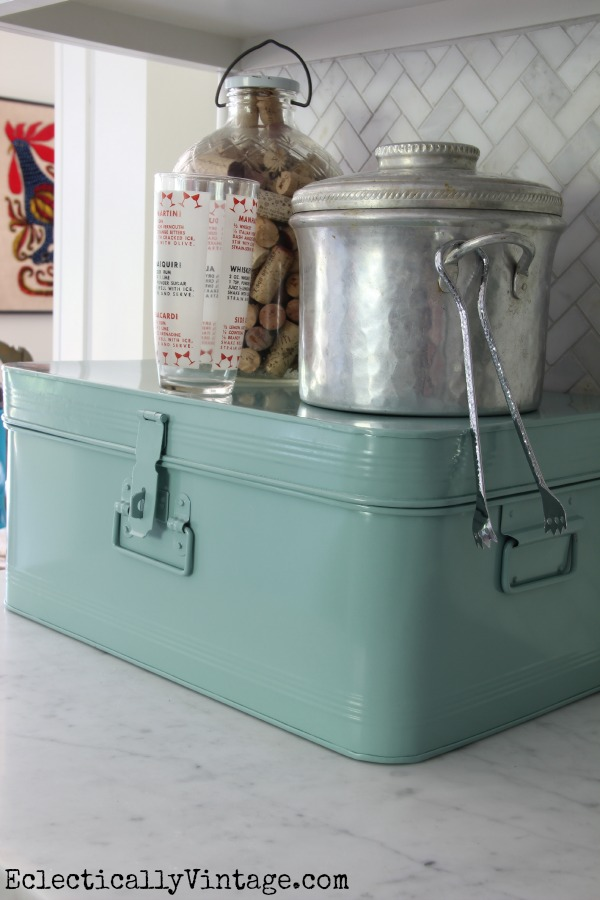 Cute vintage ice bucket and love the blue metal storage box eclecticallyvintage.com