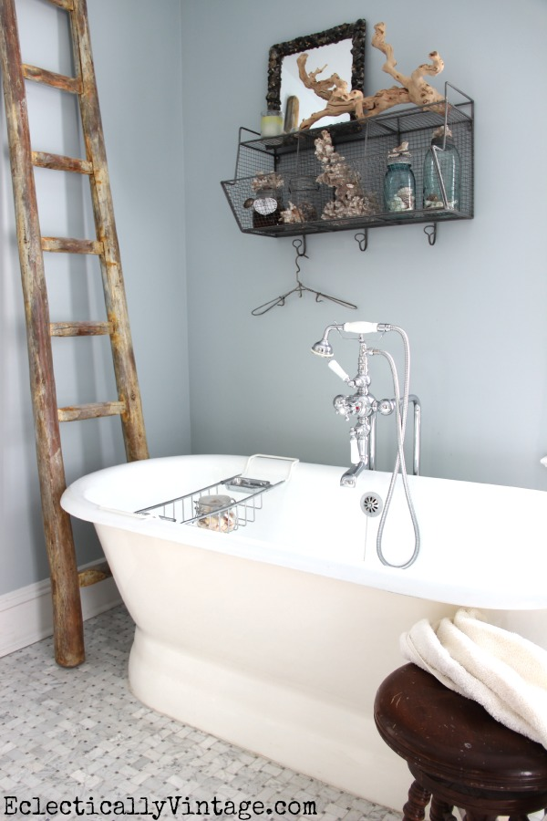 Love my World Market finds - especially this industrial shelf for the bathroom! kellyelko.com