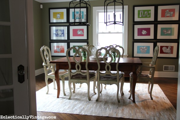 Dining Room Update With A Pieced Cowhide Rug - Cowhide rug dining room