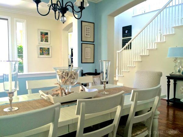 Gorgeous blue dining room - love the open feel kellyelko.com