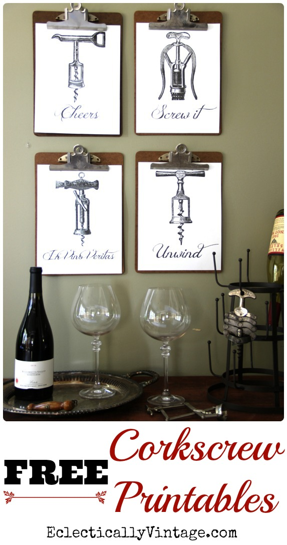 FREE Corkscrew Wine Printables - these would be cute hostess gifts - just frame and give with a bottle of wine! kellyelko.com #wine #free #freeart #freeprintables #cheers #art #vintageart