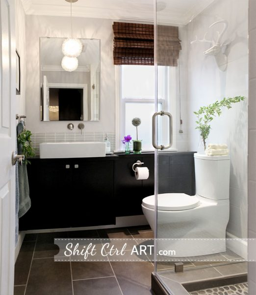 Love everything about this beautiful bathroom!  Great use of storage in such a small space kellyelko.com