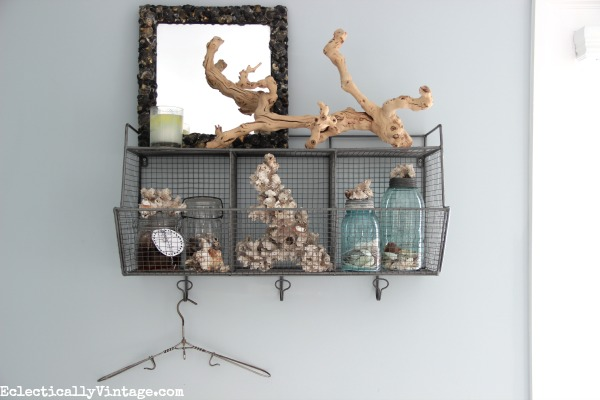 Love this industrial shelf and cubbies - perfect in a bathroom! kellyelko.com