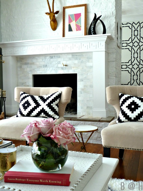 Gorgeous light and airy home tour - love the gorgeous fireplace kellyelko.com