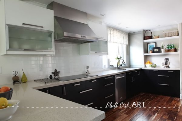 Ikea kitchen remodel - love the mix of cabinets kellyelko.com