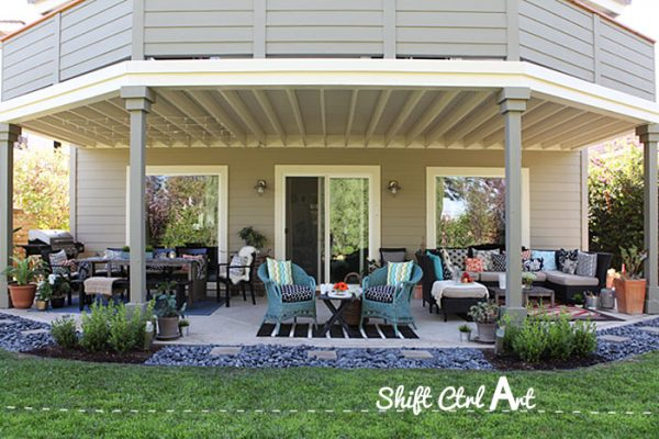 This covered patio is beautiful and huge! kellyelko.com