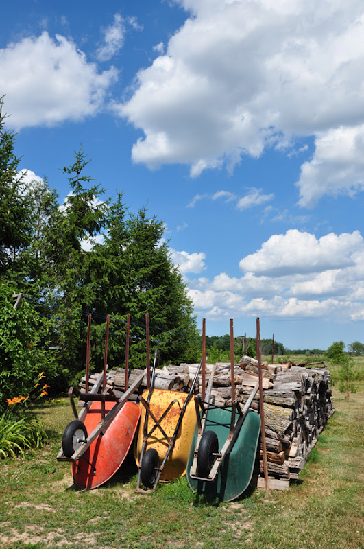Creative garden tour - love the colorful wheelbarrows eclecticallyvintage.com