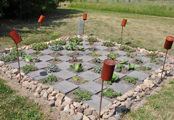 Whimsical garden - love the checkerboard pattern kellyelko.com