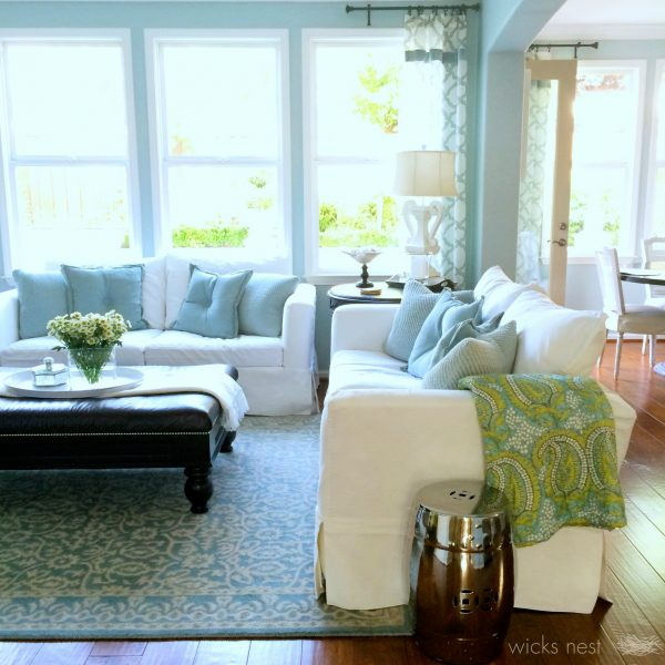 Cozy family room - love the pillows and throw kellyelko.com