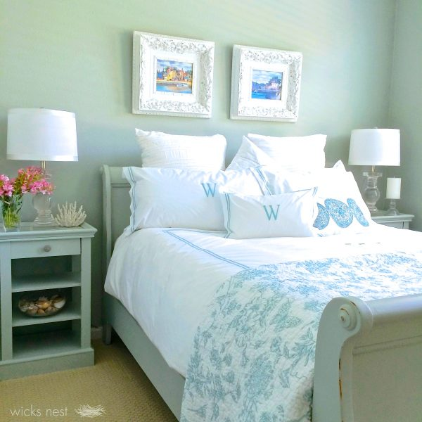 Cozy guest bedroom - love the monogrammed pillows kellyelko.com