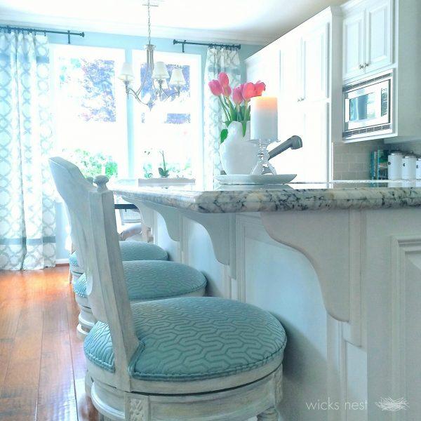 Gorgeous white kitchen with touches of blue kellyelko.com