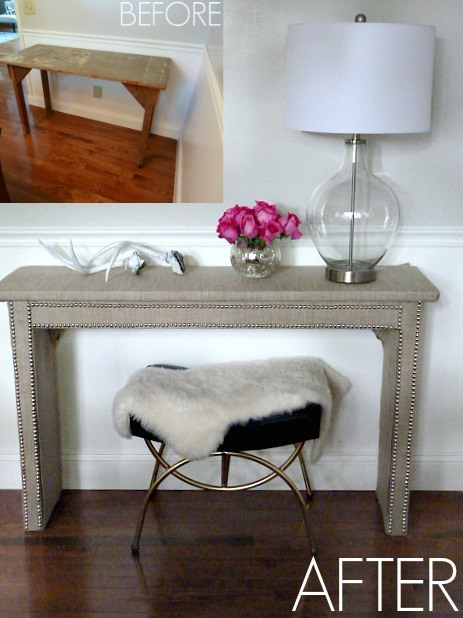 Turn an old table into a nailhead trim console kellyelko.com