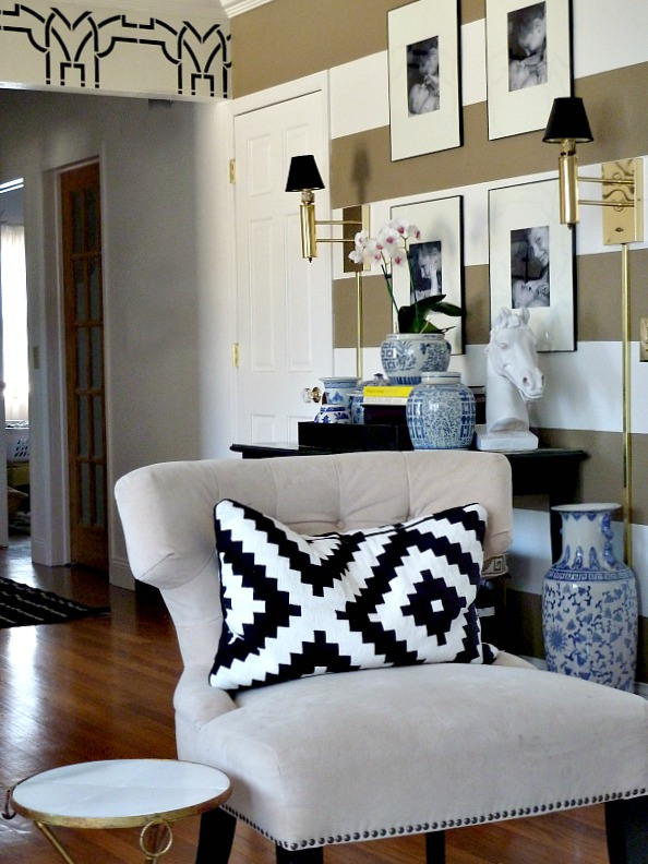 Eclectic home tour - love the striped entry foyer eclecticallyvintage.com