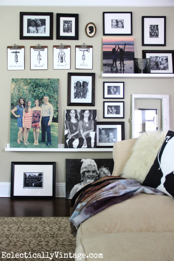 See how to make an eclectic gallery wall with picture ledges kellyelko.com