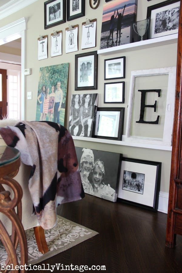 Eclectic gallery wall picture ledge