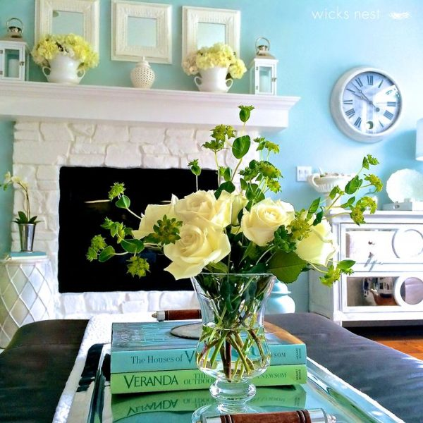 Love the fireplace - she painted dark stone for a brighter look kellyelko.com
