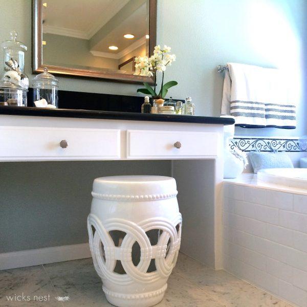 Master bathroom vanity - love the little garden stool kellyelko.com