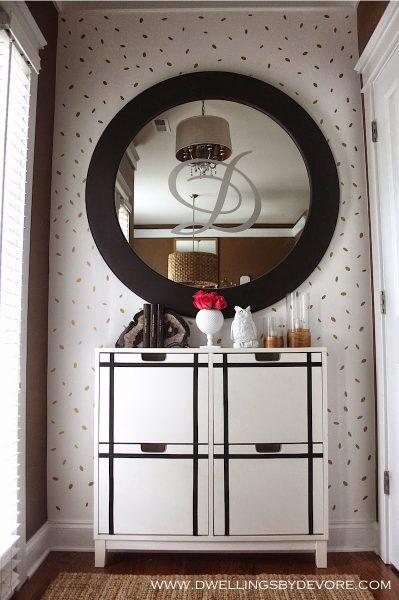 Fun entryway - love the monogrammed mirror kellyelko.com