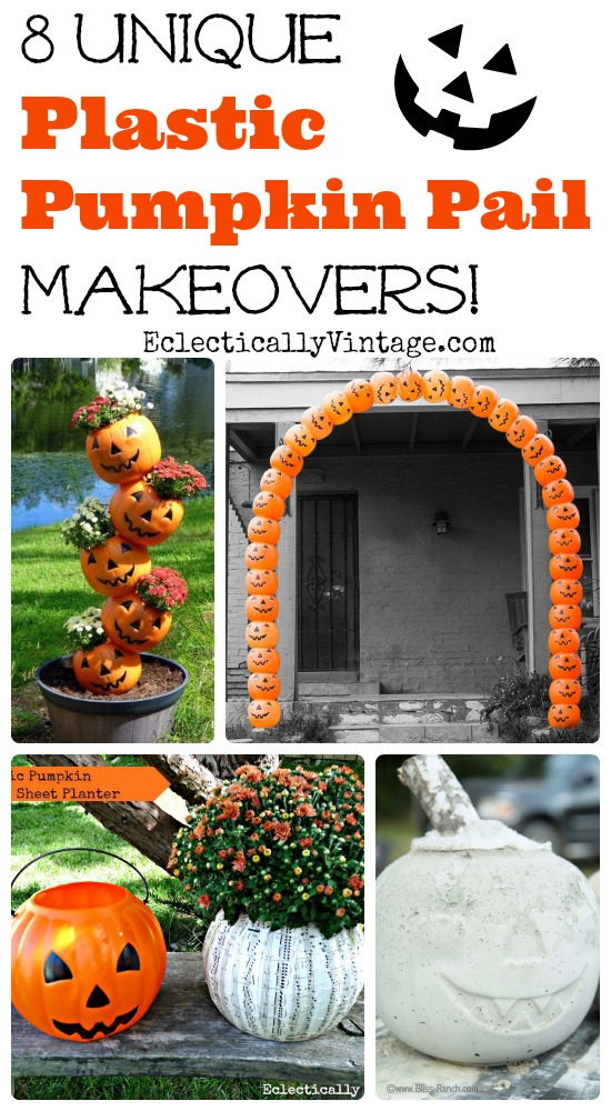 8 unique plastic pumpkin decorations turn those pumpkin pails into fun fall and halloween decorations - Plastic Pumpkins