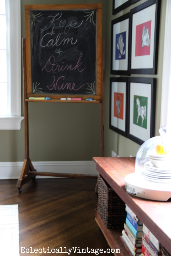 Antique chalkboard Keep Calm and Drink Wine! eclecticallyvintage.com #EclecticallyFall