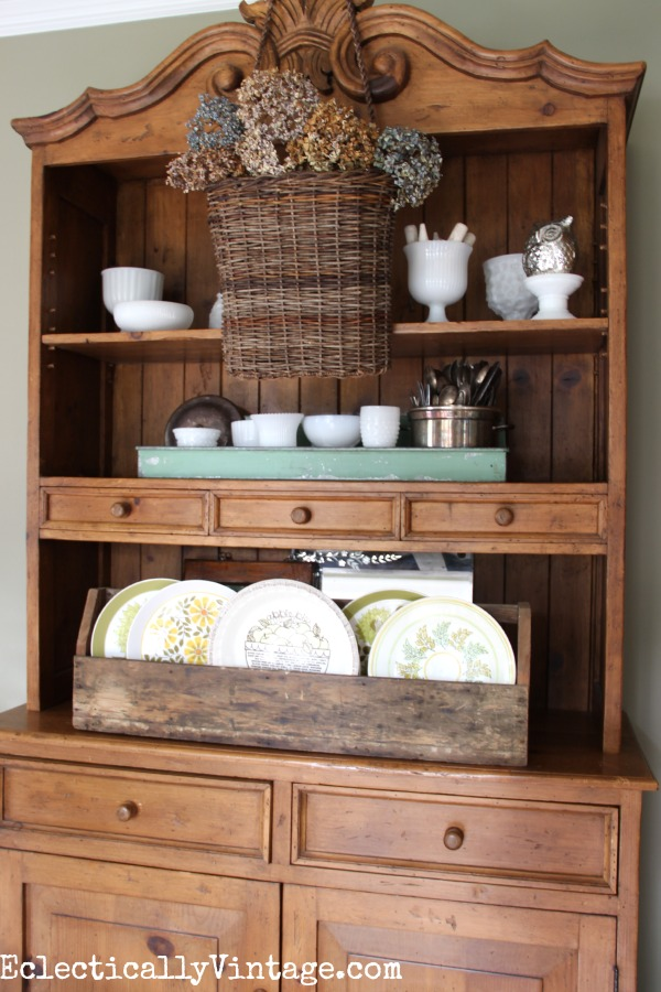 Layer a hanging basket over your shelves or dining hutch eclecticallyvintage.com #EclecticallyFall