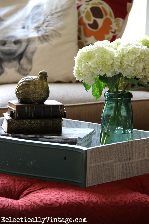Dresser drawer turned tray eclecticallyvintage.com #EclecticallyFall