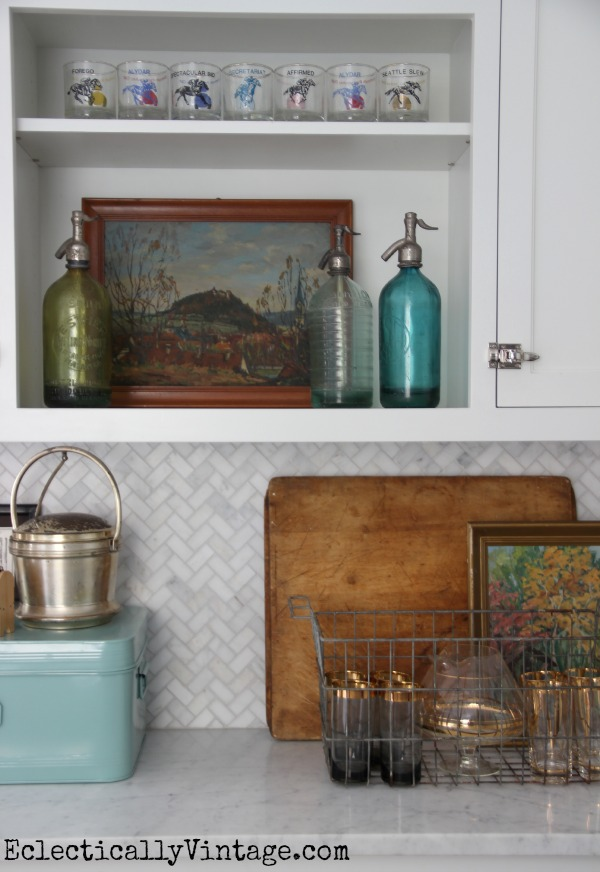Love all these vintage finds - the landscape, vintage glasses and old seltzer bottles eclecticallyvintage.com #EclecticallyFall