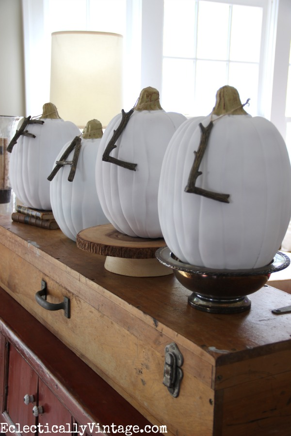 Fall decorating ideas in this Eclectically Fall home tour - love the branch letters on the pumpkins! eclecticallyvintage.com #EclecticallyFall