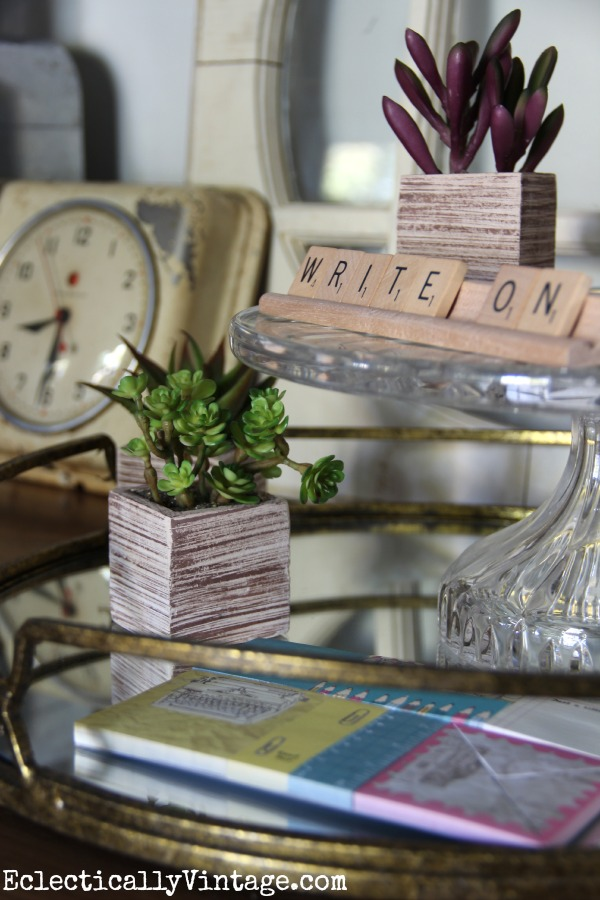 Cute little faux succulents eclecticallyvintage.com #EclecticallyFall