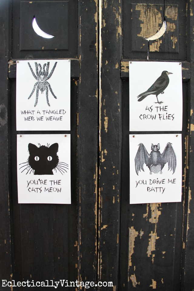 Black and White Free Halloween Printables - these are so much fun! kellyelko.com
