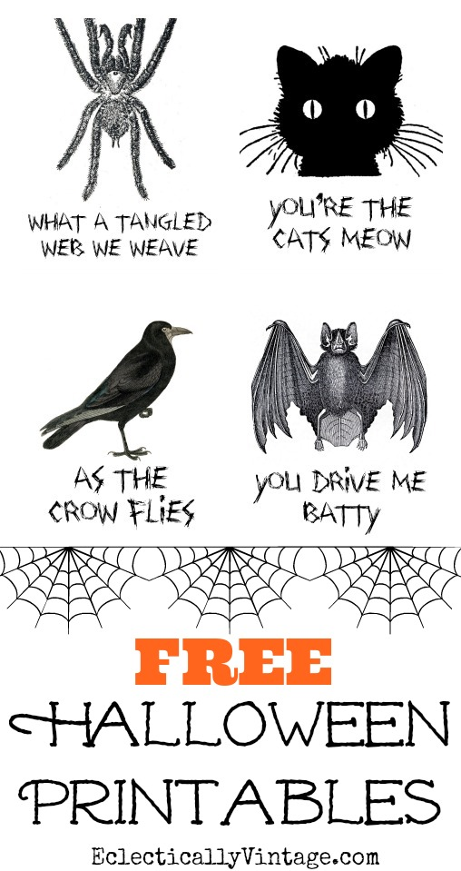 Four fun and FREE Halloween printables - these are so cool! kellyelko.com