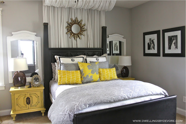 Love the drama of the canopy over the bed kellyelko.com