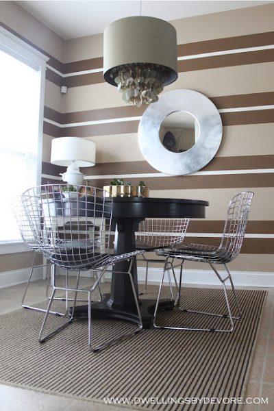 Fun striped walls in breakfast nook kellyelko.com