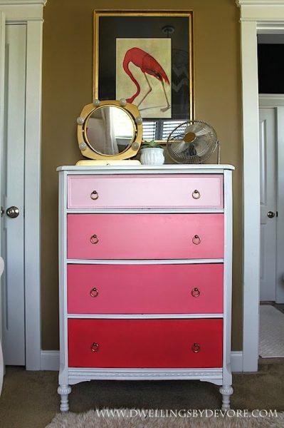 Vintage ombre dresser in shades of pink kellyelko.com