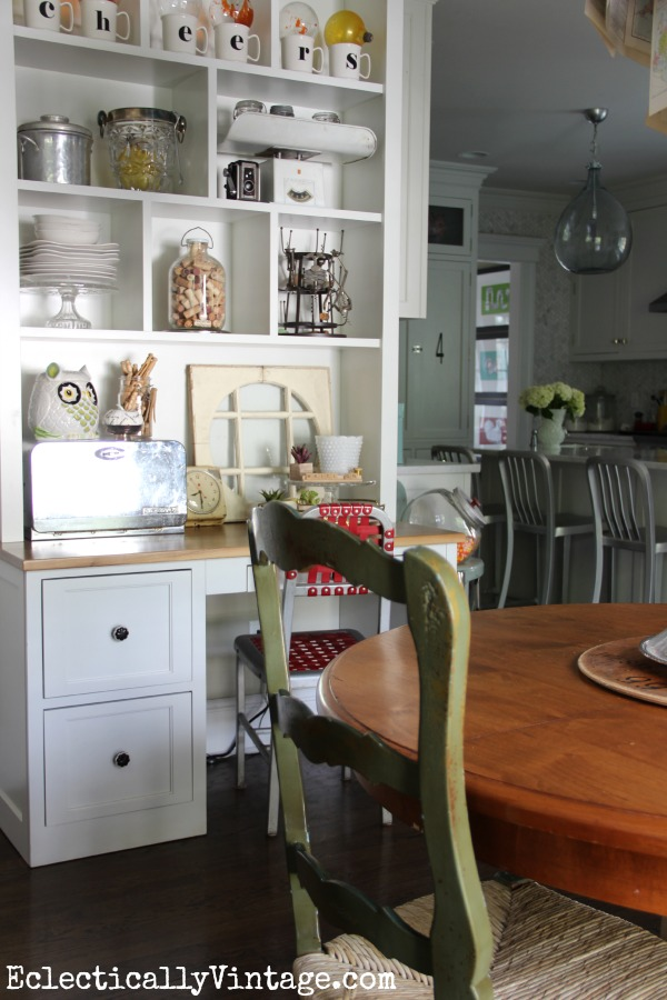 Love the kitchen desk cubbies and the fun display eclecticallyvintage.com #EclecticallyFall
