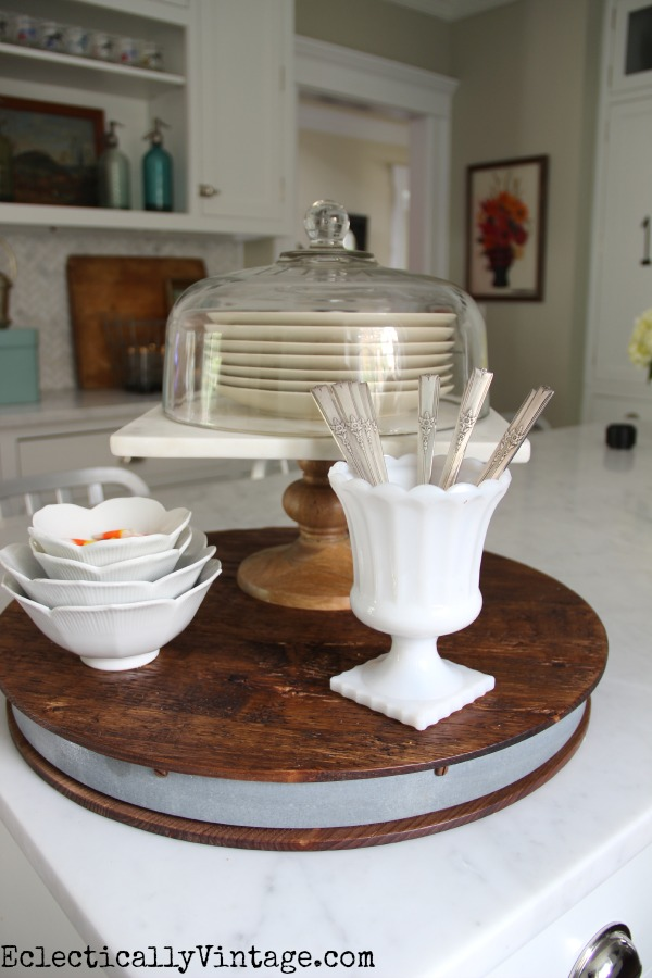 Rustic wood, marble, glass and vintage silver! eclecticallyvintage.com #EclecticallyFall