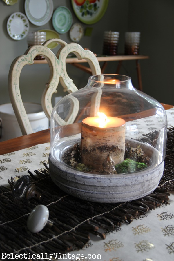 Turn a terrarium into a fun centerpiece kellyelko.com #EclecticallyFall