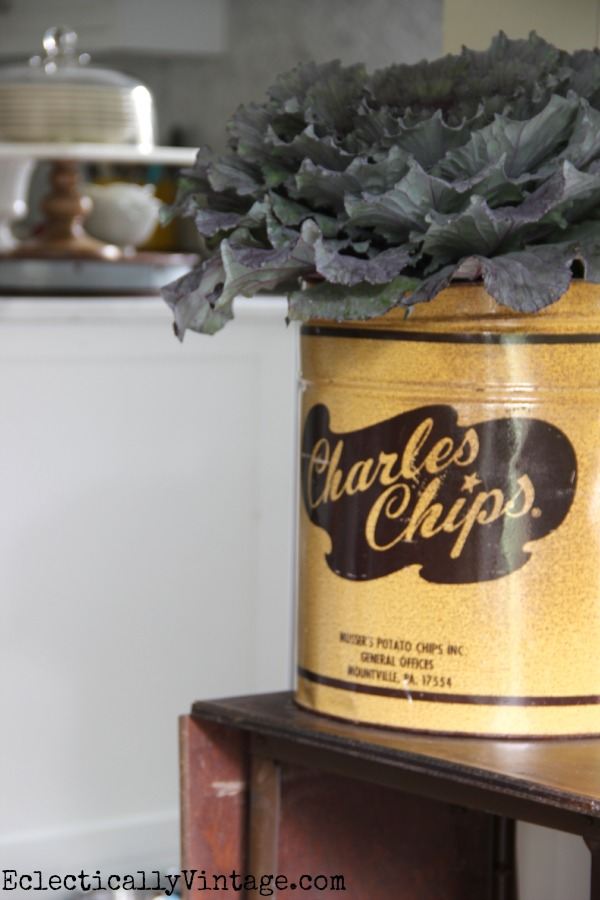Vintage Charles Chips canister makes a fun vase eclecticallyvintage.com #EclecticallyFall