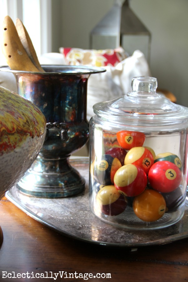 Vintage pool ball collection eclecticallyvintage.com #EclecticallyFall