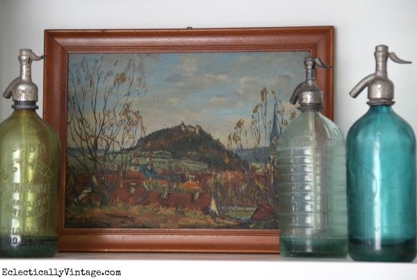 Love the vintage seltzer bottles eclecticallyvintage.com #EclecticallyFall