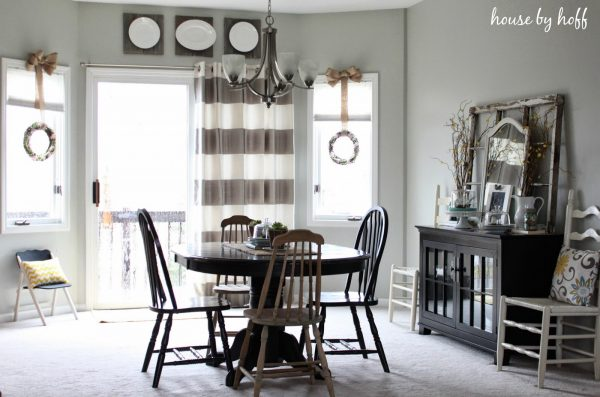 Cute dining room - love the striped curtains kellyelko.com