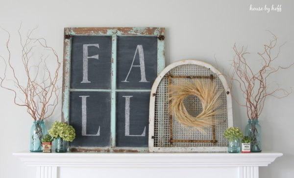 Fall mantel ideas - love the chalkboard window kellyelko.com