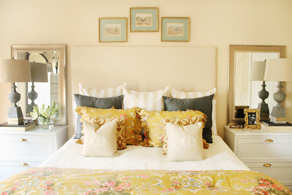 What a cozy bed - love all of the pillow patterns kellyelko.com