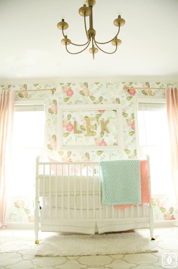 Beautiful girls nursery - love the floral wallpaper kellyelko.com