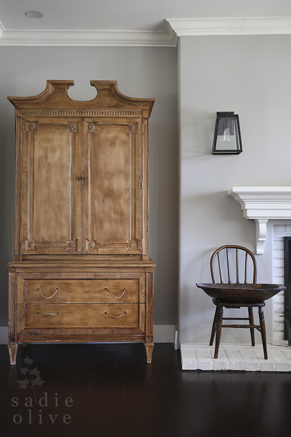 This old armoire is the perfect stain color - love the rope drawer pulls kellyelko.com