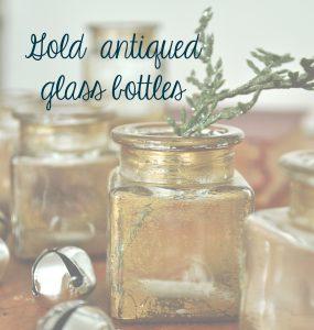 Make gold antiqued glass bottles