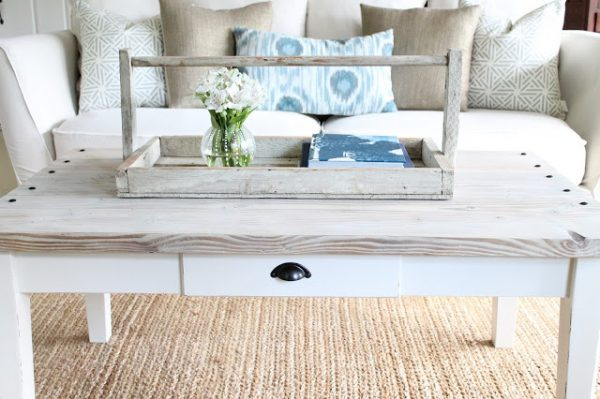 Turn a boring coffee table into a rustic barn wood planked beauty kellyelko.com