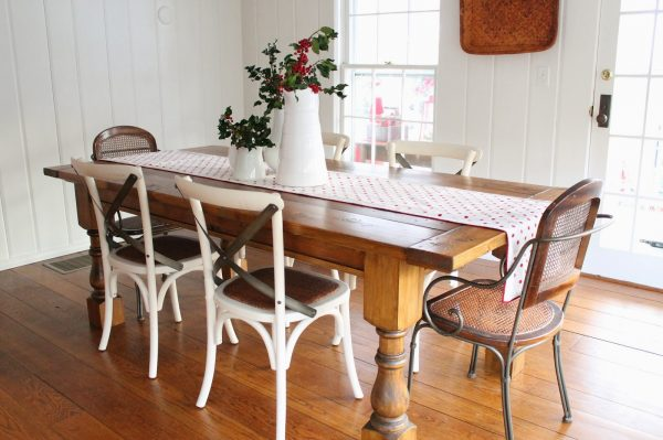 Love the mismatched chairs and the DIY farmhouse table kellyelko.com
