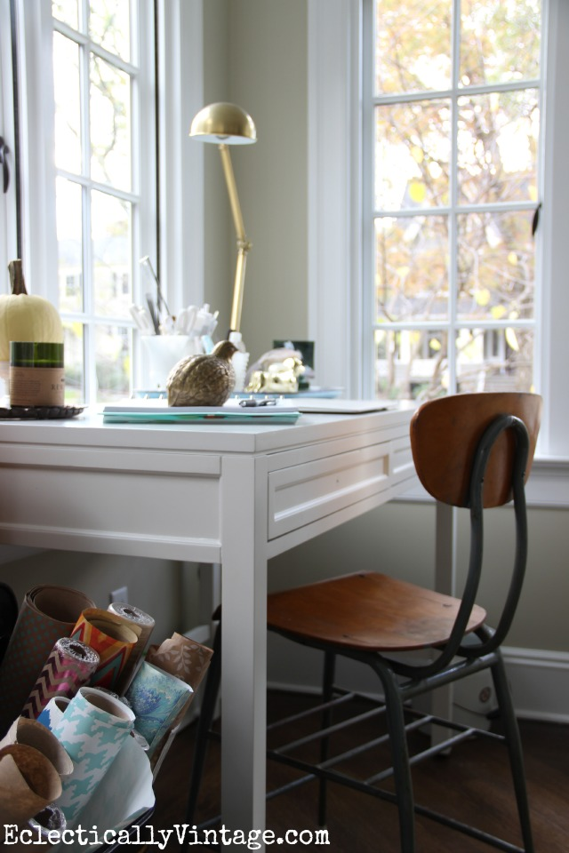 Love this home office nook - you don't need a lot of space! kellyelko.com